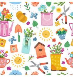 cute colorful spring pattern bright floral design vector image