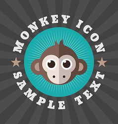 Cute Monkey Icon In Flat Design Style Logo or vector image