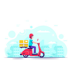 Delivery guy on scooter flat style vector