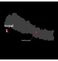 Detailed map of Nepal and capital city Kathmandu vector