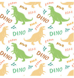 dino seamless pattern cute cartoon hand drawn vector image
