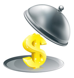 Dollar on silver platter concept vector