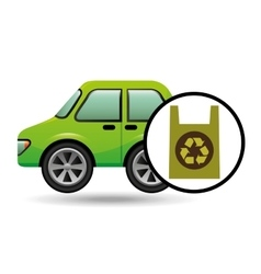 Eco car icon environment plastic bag vector