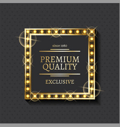 exclusive product and shiny frame premium quality vector image