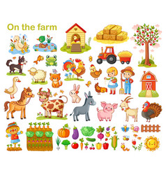 Farm set with animals vector