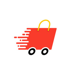 Fast shipping with shopping bag vector