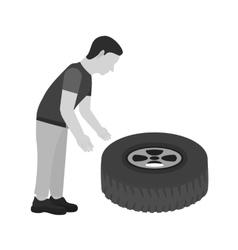 Fixing Punctured Tyre vector