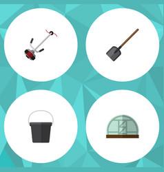 Flat icon garden set of shovel hothouse pail and vector