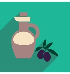Flat web icon with long shadow olive oil vector