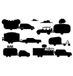 food caravan set street eating caravan vector image