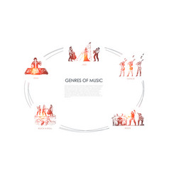 genres music - jazz dance rock edm rock vector image