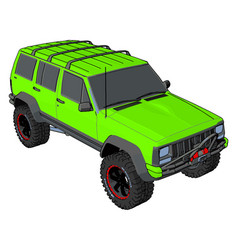 green off road vehicle on white background vector image