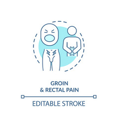 Groin and rectal pain concept icon vector