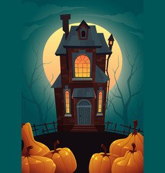 halloween cartoon background with house and vector image