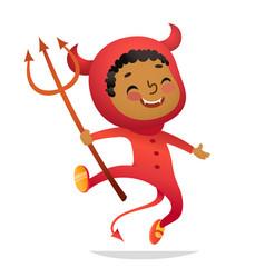 halloween kids costume party african-american boy vector image