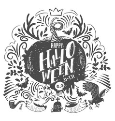 halloween lettering and doodles vector image