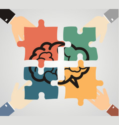 Hands putting piece into brain shaped puzzle vector
