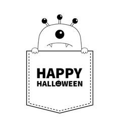 Happy halloween black line contour monster vector