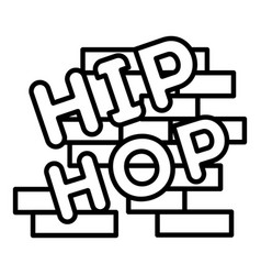 hip hop on brick wall icon outline style vector image