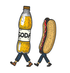 hot dog and soda walks on its feet sketch vector image