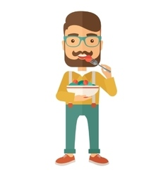 Hungry man eating vector