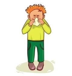 Ill little cartoon man sneezes image vector image