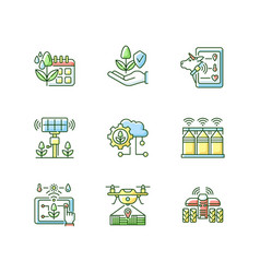Innovation technology rgb color icons set vector