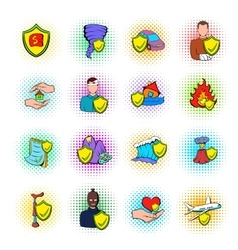 Insurance icons set pop-art style vector