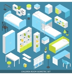 Isometric Children Room Icon Set vector image