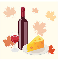 Isometric red wine bottle with glass and cheese vector