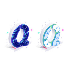 letters q with social networks elements vector image