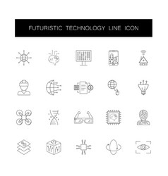 line icons set futuristic technology pack vector image