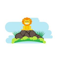 Lion cute animals in cartoon style wild animal vector