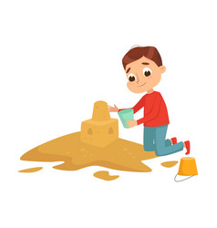 Little boy playing on pile sand kid building vector