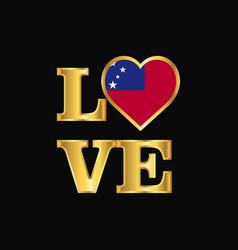 Love typography samoa flag design gold lettering vector