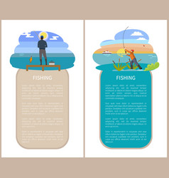 Man on pier and guy in reed fishing flat poster vector
