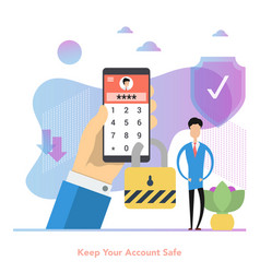 man with phone locked a password for secure vector image