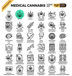 Medical cannabis concept line icons vector