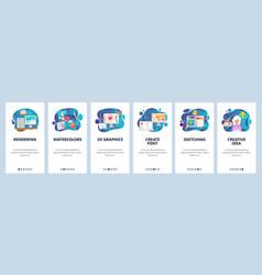 Mobile app onboarding screens digital art and vector