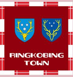 National ensigns of denmark - ringkobing town vector