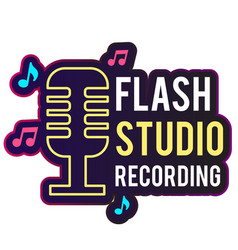neon flash studio recording retro microphone backg vector image