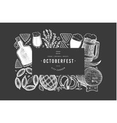 Octoberfest banner hand drawn on chalk board vector