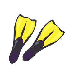 pair of yellow flippers for professional diving vector image