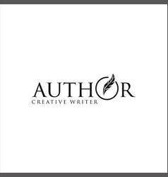 Pen feather author write logo design vintage vector