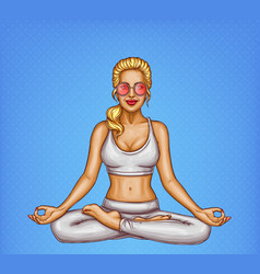 pop art blonde girl doing yoga padmasana vector image