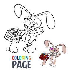 rabbit cartoon coloring page vector image