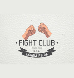 realistic and detailed fist emblem fighting club vector image