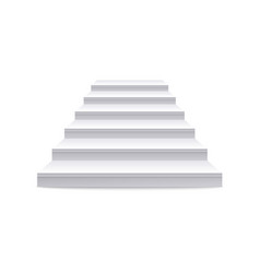 realistic white staircase and stair with straight vector image