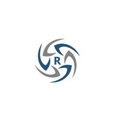 Rotation arrow process plan boomerang letter r vector