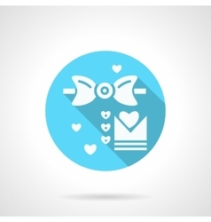 Round blue wedding MC flat icon vector